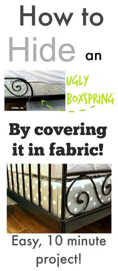 A fun DIY way to give your bed and bedding a really nice finishing detail while hiding your ugly boxspring!
