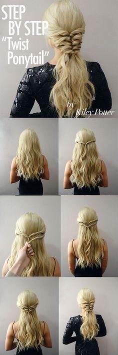Step by step twist ponytail by kiley potter step by step hairstyles hairstyle tutorials easy hairstyles 17 hairstyles that can be done in 3 minutes hairgrowth 17 haar tutorials knnen sie vllig diy Pretty Hairstyles, Braided Hairstyles, Wedding Hairstyles, Amazing Hairstyles, Headband Hairstyles, Quick Hairstyles, Vintage Hairstyles, Fantasy Hairstyles, Newest Hairstyles