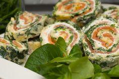 Spinat-Lachs-Rolle mit Frischkäse