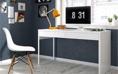 314€ Mesa escritorio en blanco brillo con 2 cajones. #mesa #escritorio #habitación #blanco  Deskontalia Productos - Descuentos del 70%