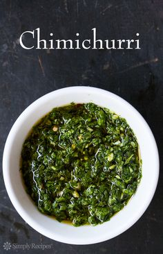 Chimichurri ~ Argentinean chimichurri made with chopped fresh parsley, oregano, garlic, olive oil, vinegar, and red pepper flakes. ~ SimplyRecipes.com