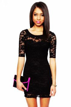 Black Lace Short Dress with Short Sleeves