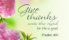 O give thanks unto the Lord; for he is good: because his mercy endureth for ever. —Psalm 118:1