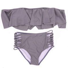 0c72c12024 2017 Women Strapless Bikini Reversible Neon Color Swimsuit High Waist Cross  Straps Biquini Sexy Hollow Out Swimwear