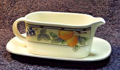 Mikasa Garden Harvest Gravy Boat and UnderPlate CAC29 EXCELLENT! #Mikasa