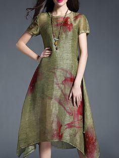 Shop Midi Dresses - Green Asymmetric Linen Casual Midi Dress online. Discover…