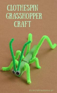 clothespin grasshopper craft for kids
