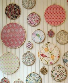 Decorating With Fabric Scraps - quilting hoops- You could also do in Christmas fabrics to look like ornaments.