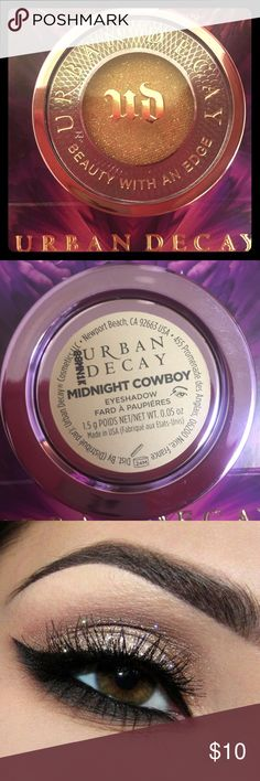 "Urban Decay ""Midnight Cowboy"" Eyeshadow Urban Decay ""Midnight Cowboy"" Eyeshadow. New. Never used. The eye & swatch are stock photos from Urban Decay's website. The eyeshadow for sale has never been open. It is a shimmery pink-champagne color. Urban Decay Makeup Eyeshadow"