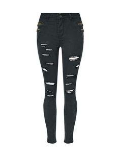 Ripped Designed Plain Slim-Leg Mid-Rise Jean