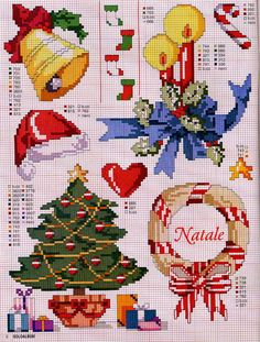 ♥Meus Gráficos De Ponto Cruz♥: Natal (small items that would make perfect X-stitch ornaments)