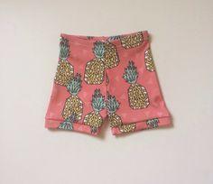 Organic Cotton Pink Pineapple Shorties, modern clothing, kids clothes, baby leggings, toddler shorts