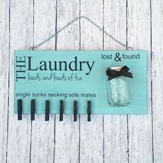 Laundry Room Decor - Laundry Sign - Lost Socks - Lost and Found - Home Decor - Laundry Room Sign - Mason Jar - Wooden Sign - Loads of Fun