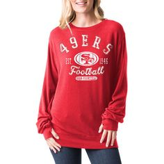 f518cd2aa Women s San Francisco 49ers 5th   Ocean by New Era Scarlet Athletic  Tri-Blend Pullover Sweatshirt