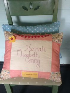 Christening Cushion. Hand stitched name. From www.bettys-buttons.co.uk, Betty's Buttons of Ventnor on Facebook.