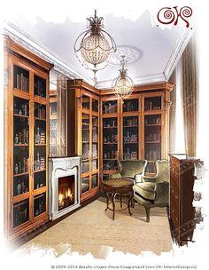 Дизайн домашней библиотеки в винтажном стиле http://www.ok-interiordesign.ru/blog/vintazhnyj-stil-v-interyere-25-foto.html