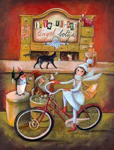 by Hungarian Illustrator Szegedi Katalin Bicycle Painting, Bicycle Art, Bicycle Illustration, Book Illustration, Angkor, Art Logo, Vintage Cards, Drawing Reference, Vintage Christmas