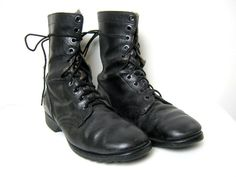 vintage black men's tall combat army work boots 9.5