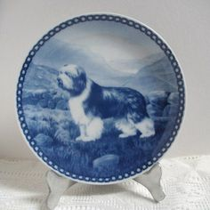 Vintage Denmark Plate Bearded Collie Tove Svendsen Collectible Dog Plate Porcelain Blue and White Original Hunde Platte