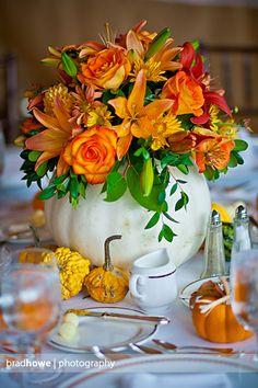 White pumpkin centerpieces by www.flowercupboard.com  photography by www.bradhowephotography.com