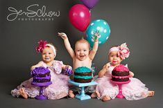 Even without the cakes and balloons its an adorable pose for siblings