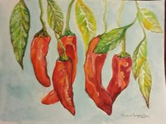 """""""Peppers Just Hanging Around"""" Watercolor on 140lb cold press 08/12/2015 by C.Rodriguez Allen"""