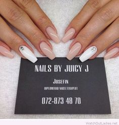 Ballerina shape nails on nude and white