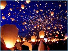 thousands of paper lanterns released in Poznan, Poland to mark the beginning of summer.