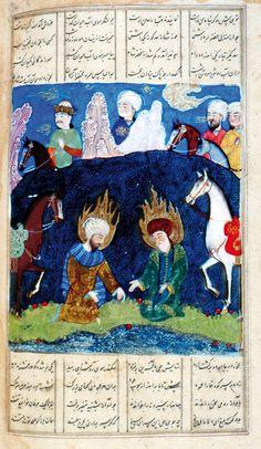 Eskandar seeks the Water of Life Ferdowsi, Shahnameh Turkman Commercial style: Shiraz, 27 July 1494 Scribe: Soltan Hosayn b. Soltan 'Ali b. Aslanshah al-katib  Opaque watercolour, ink and gold on paper  Oxford, Bodleian Library, MS Elliott 325, fol. 396v