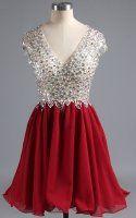 Burgundy Mini Sleeveless V Neckline Chiffon Tulle Beading Appliques Lace Short Homecoming Dress