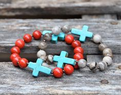 Buffalo Red Turquoise & Taupe Agate Cross Bracelets by BeadRustic Cross Bracelets, Beaded Bracelets, Red Turquoise, Agate, Buffalo, Taupe, Trending Outfits, Unique Jewelry, Handmade Gifts