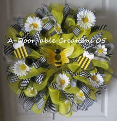 Beeutiful Deco Mesh Bumble Bee Wreath by ADoorableCreations05, $99.00