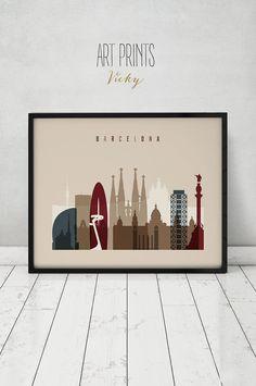Arte Barcelona imprimir, póster, horizonte, arte de la pared, paisaje urbano de España, viajes, impresiones de la ciudad, decoración de la pared, regalo, decoración del hogar, ArtPrintsVicky