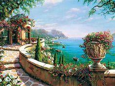 capri-terrace.jpg [Capri Terrace - 20 x 26 or 30 x 40 Artist Embellished Giclee on Canvas]