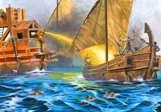 Byzantine ships drive away Umayyad attackers using Greek Fire during the siege of Constantinople- by Zvonimir Grbasic. Rashidun Caliphate, Siege Of Constantinople, Ottoman Empire, Byzantine, Warfare, Christianity, Medieval, Military, Fantasy