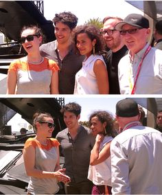 Katie McGrath, Colin Morgan, and Angel Coulby at Comic Con 2012