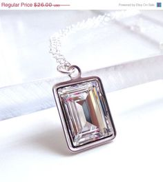 SALE Clear Crystal Emerald Cut Necklace  Bridal by LoveYourBling, $23.40