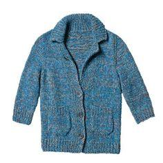 Blau melierte Jacke stricken