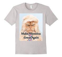 Mens Make Meowica Great Again July 4th Funny Cat Trump T-Shirt 2XL Silver