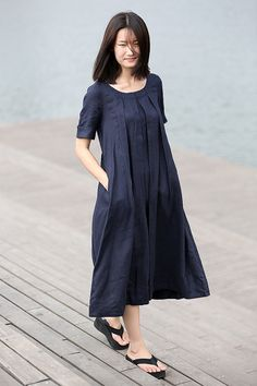 Linen dress for Women in Navy Blue dress C270 by YL1dress on Etsy