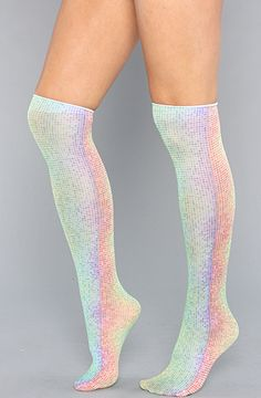 Rainbow Dots Trouser Knee Socks, looks like they're made from disco fairy wings!