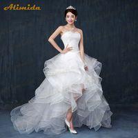 Alimida Wedding Dress 2016 High Low Strapless Wedding Gowns Tiered Lace Up vestido de noiva  2016