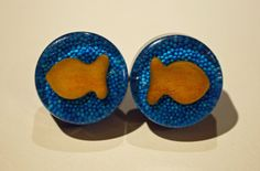 custom GOLDFISH knobs drawer pulls fish crackers ocean blue. $14.00, via Etsy.