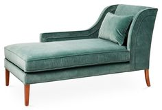 Love the soft green-gray shade of this velvet chaise lounge.