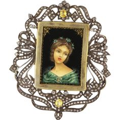 Vintage 14 Karat Yellow Gold 925 Sterling Silver Diamond Yellow Sapphire Large Painted Portrait Pendant