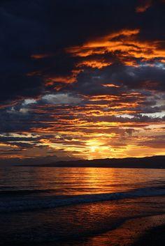 Puesta de sol, playa
