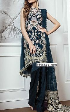 Navy Blue Chiffon Suit | Buy Baroque Pakistani Dresses and Clothing online in USA, UK