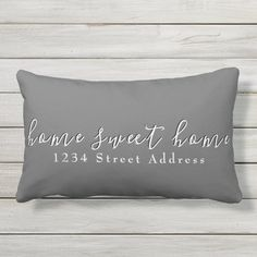 Home Sweet Home & Address | Script | Gray Lumbar Pillow - tap/click to personalize and buy #LumbarPillow #gray #home #address #sweet #modern Lumbar Pillow, Bed Pillows, Modern Decorative Pillows, Patio Chairs, Gray Background, Pillow Design, Accent Pillows, Typography Design, Grey And White