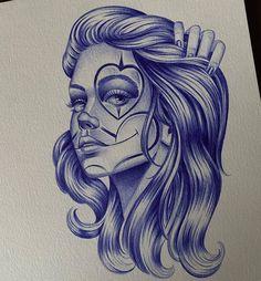 Skull Girl Tattoo, Girl Face Tattoo, Clown Tattoo, Chicano Style Tattoo, Chicano Tattoos, Body Art Tattoos, Chicano Drawings, Tattoo Drawings, Estilo Chola