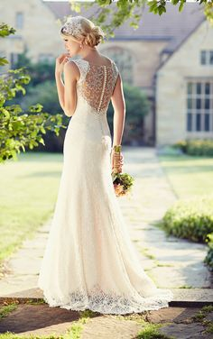 Sweetheart neckline wedding dresses from Essense of Australia featuring delicate shoulder straps, a gorgeous illusion back and sweep train.